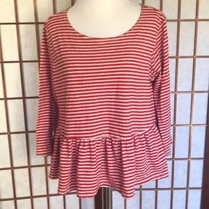 Free People Red and Off White Striped Peplum Top M